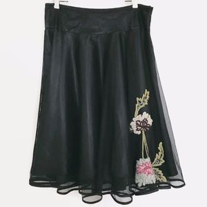 Betsey Johnson Black Tulle Embroidered Skirt